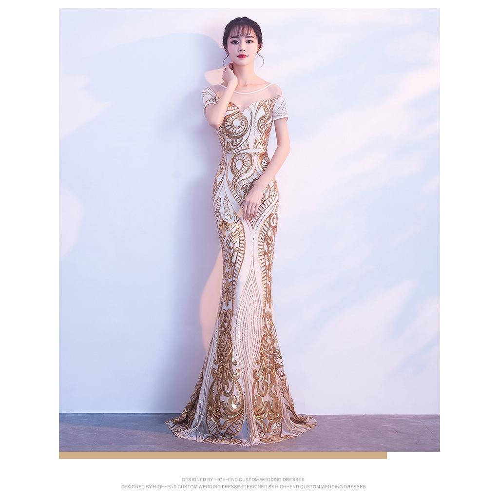 43284c0659 Dinner party evening dress sexy fish tail gold evening hostess hostess dress