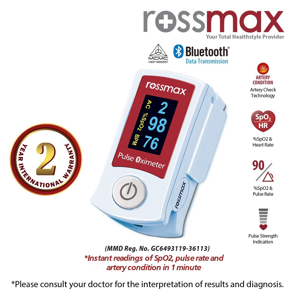 "ROSSMAX Bluetooth Fingertip Pulse Oximeter with ""ACT"" Model SB210"