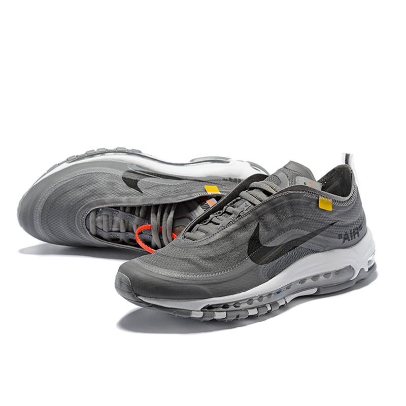new product 31883 9732f Nike Air Max 97 x Off-White Men Fashion Breathable Sport Running Shoes