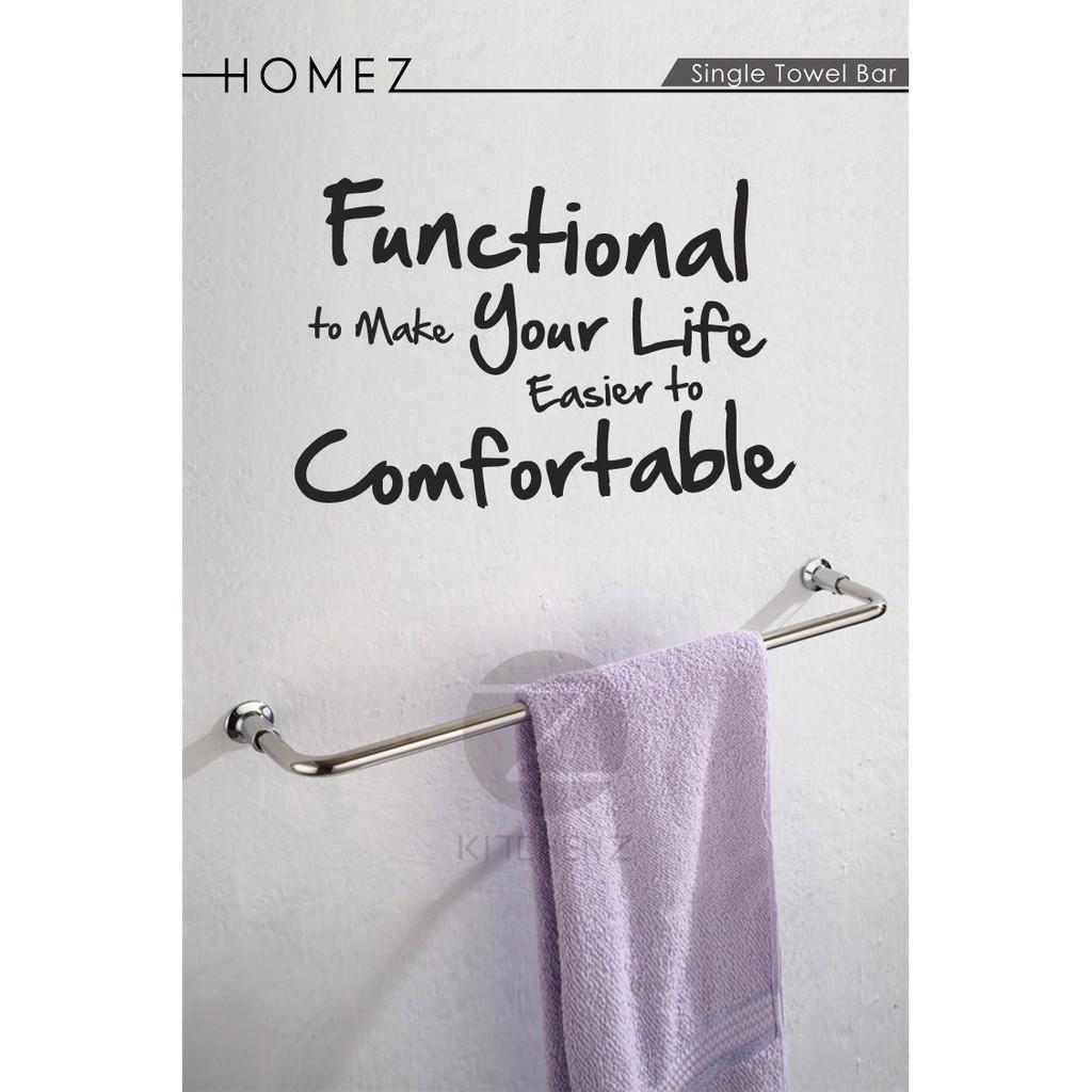 Homez Bathroom Single Towel Bar JQS-B1-60 Stainless Steel -60 cm HMZ-BR-TB-B1-60