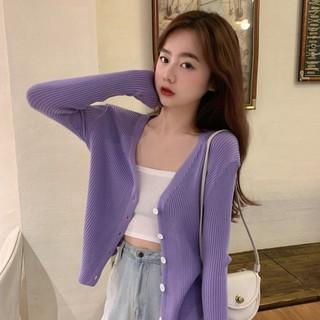 ♞☾❄Purple thin V neck cardigan sweater outerwear women''s 2020 spring new loose long sleeve top bottom coattopcardigansweater
