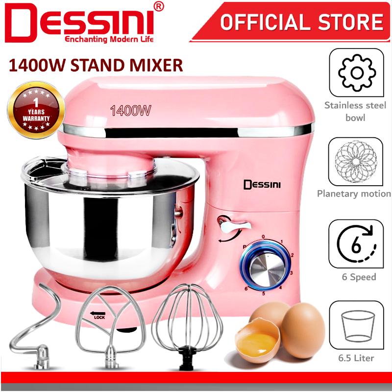 DESSINI ITALY 6 Speed Electric Stand Mixer Egg Beater Blender Grinder Dough Whisk Bowl Pengadun Bancuh Telur (6.5L)