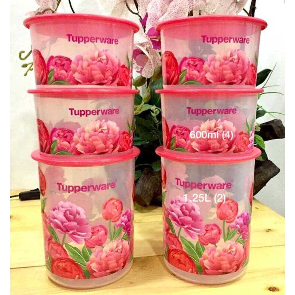 Tupperware One Touch Blooming Peonies Canister Set