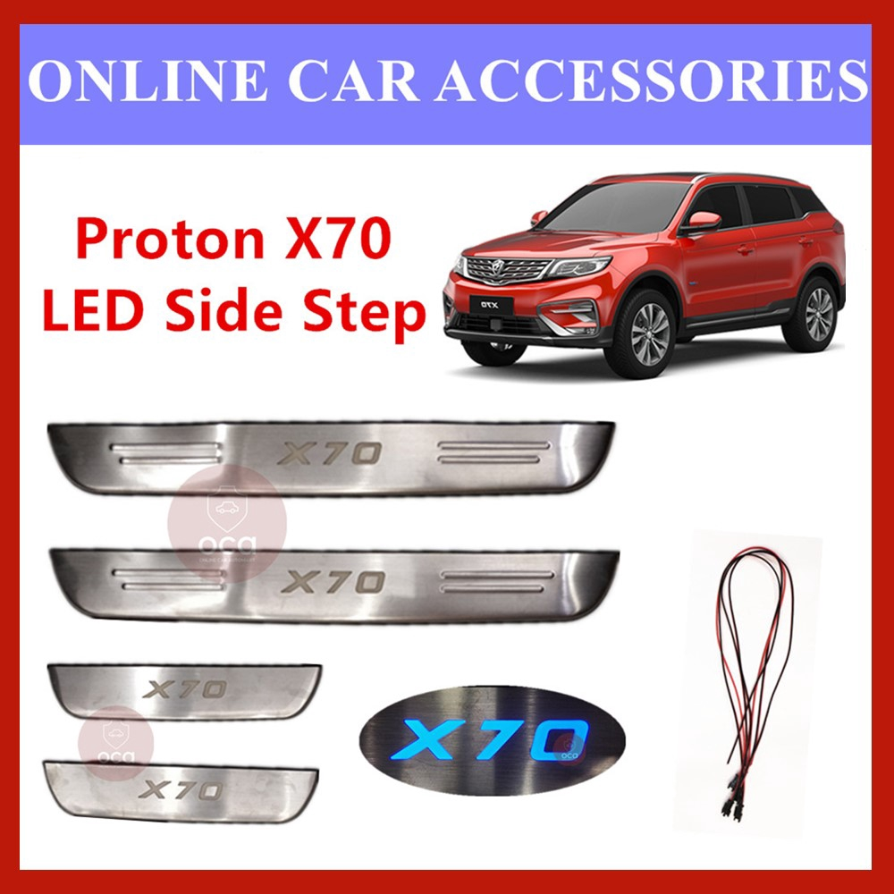 Proton X70/X-70 Blue LED Door Side Still Step Plate
