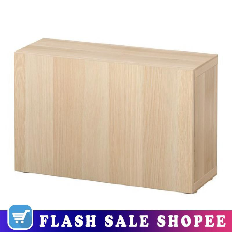 Effect 60x20x38 Cm Ikea Besta Shelf Unit With Door Lappviken White Stained Oak