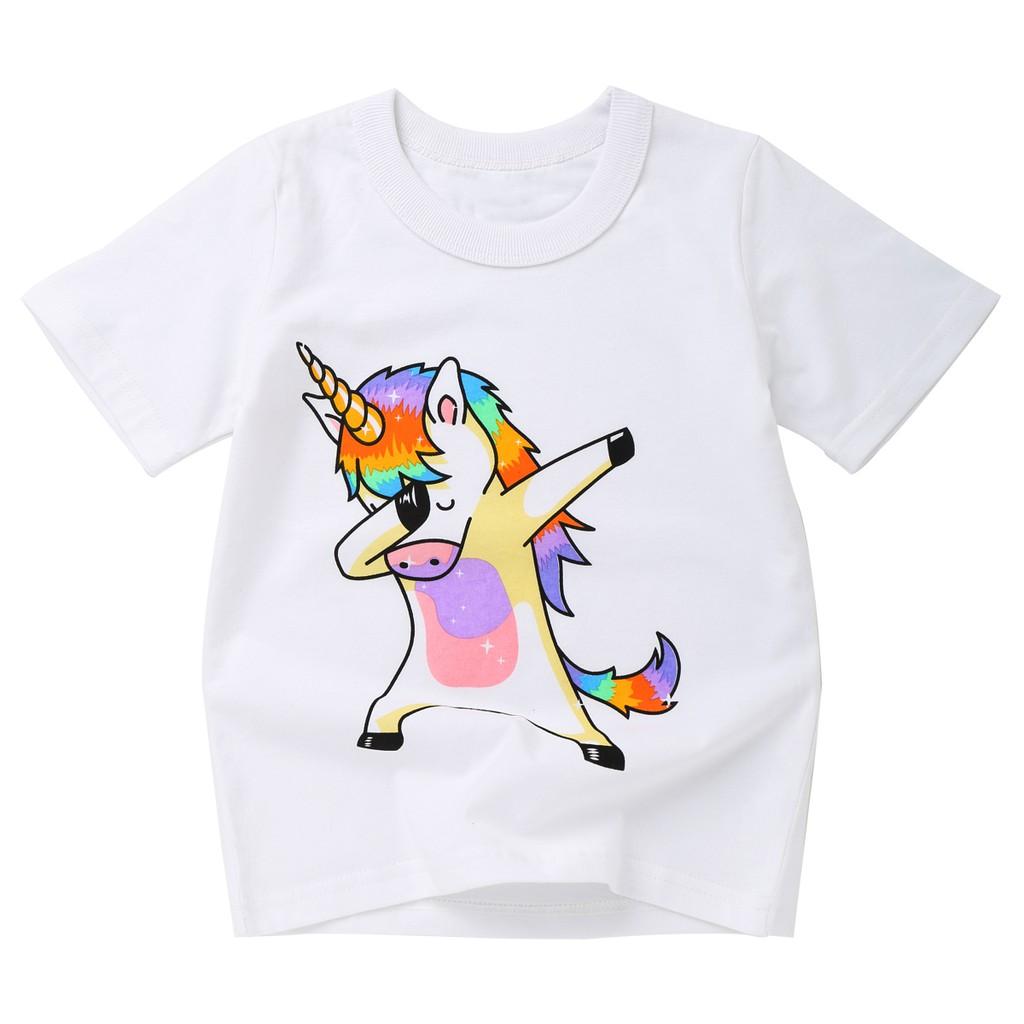 Kids Boys Girls Pug Unicorn T-Shirt