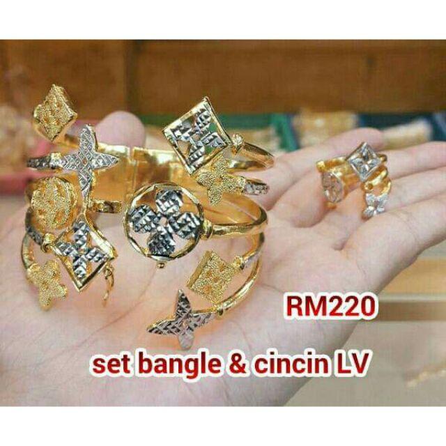 f4381c49494 set bangle & cincin LV