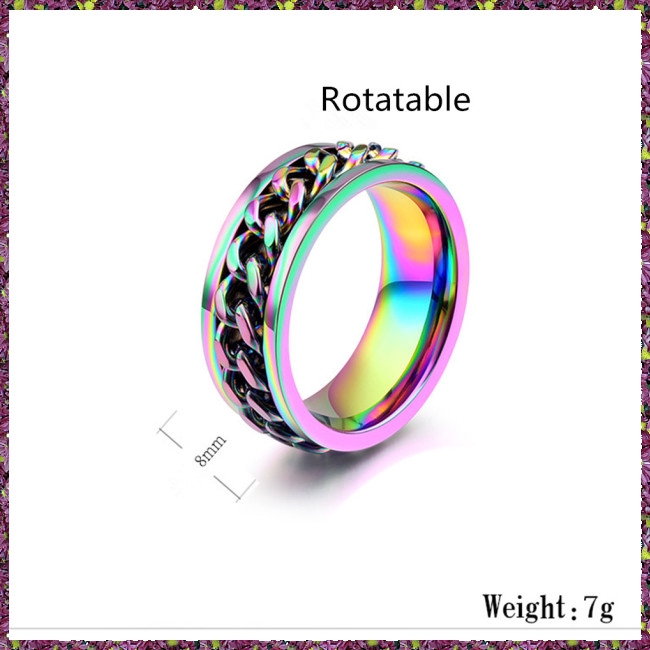 fa1f953f47 Men Fashion Punk Jewelry Colorful Chain Titanium Steel Rings ...