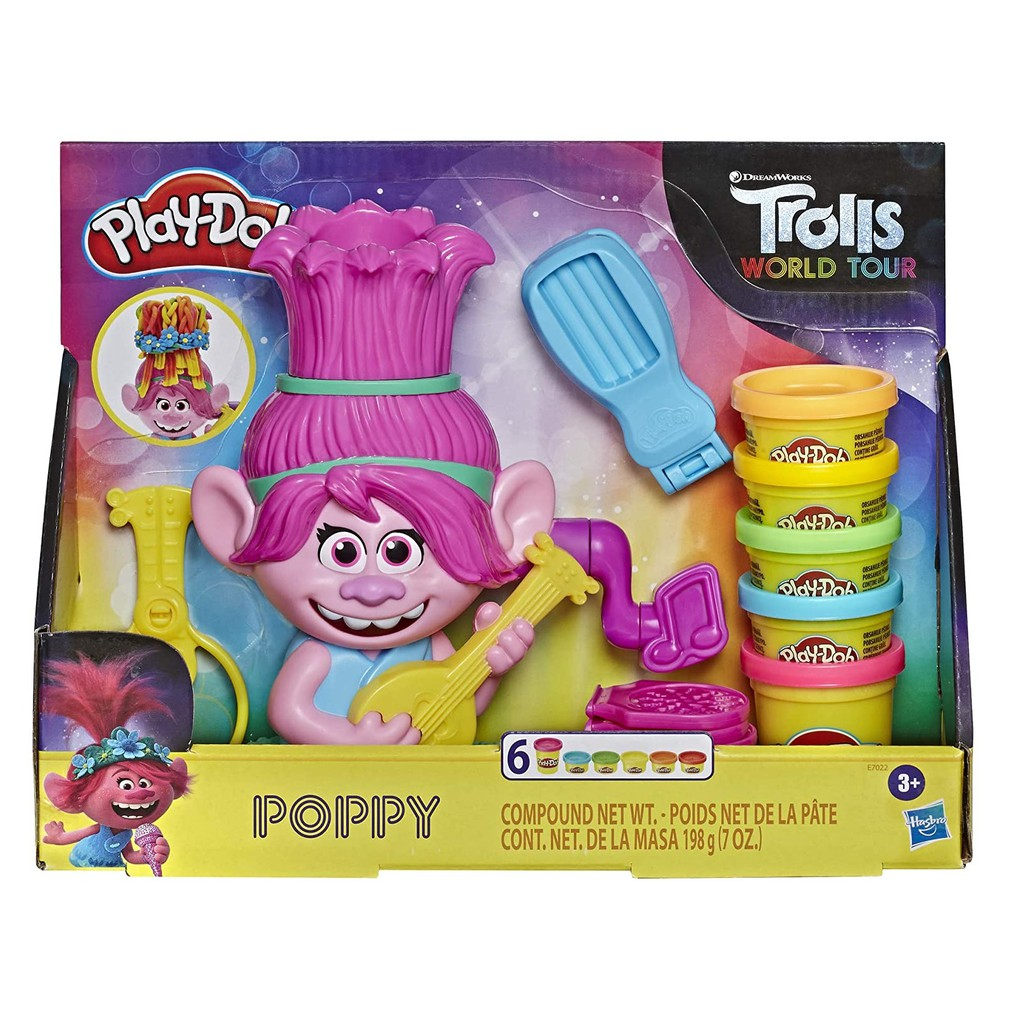 Play-Doh Trolls World Tour Rainbow Hair Poppy Styling Playset