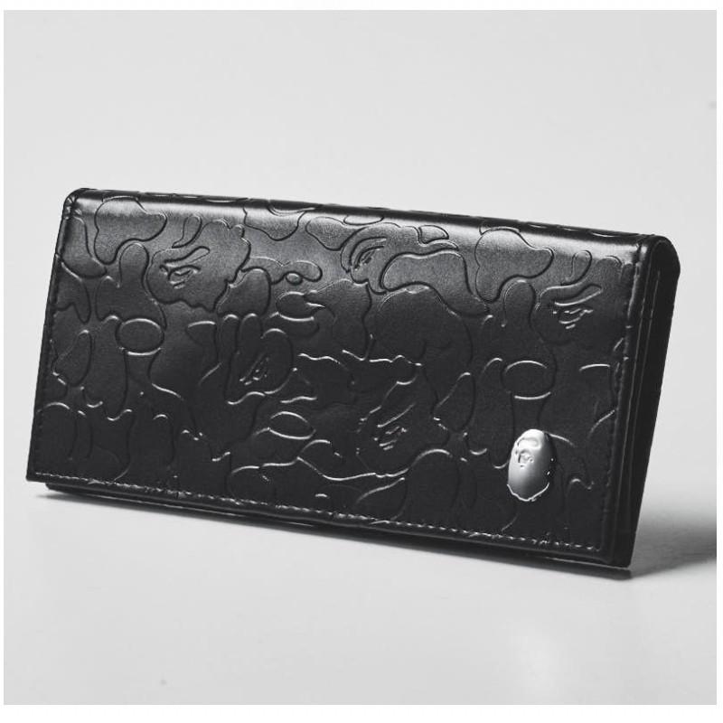 A BATHING APE BAPE CAMO Leather Long Wallet Black JAPAN smart Special Appendix