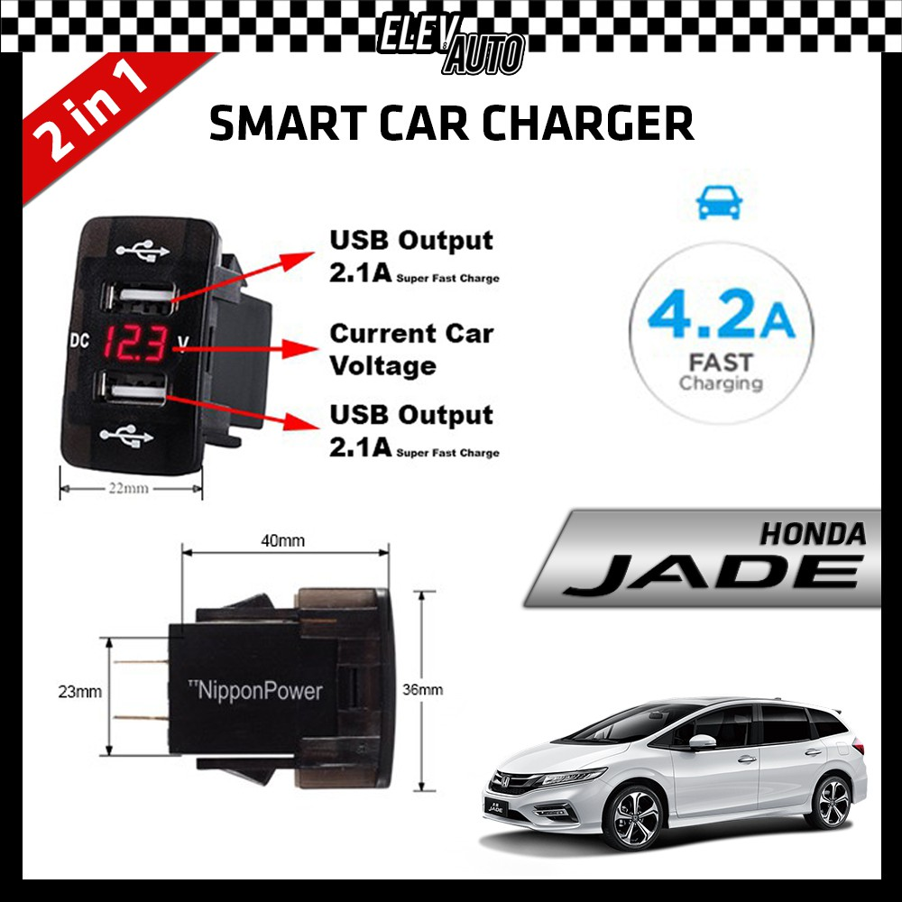 DUAL USB Built-In Smart Car Charger with Voltage Display Honda Jade