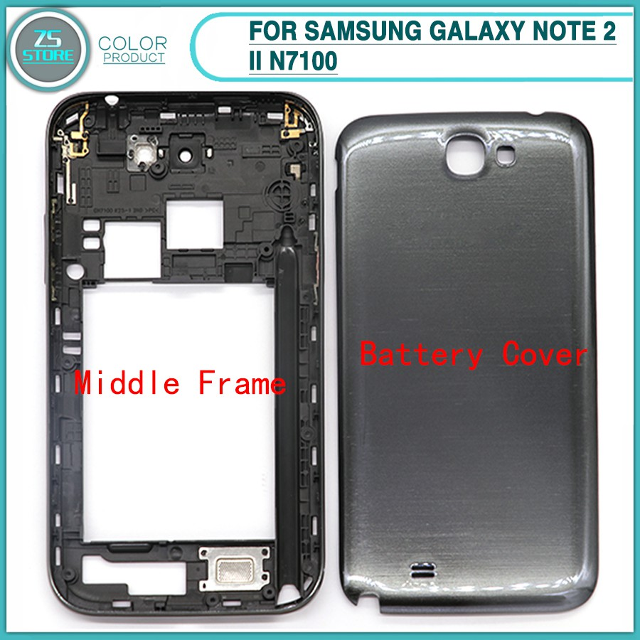 the best attitude 435bb 03e35 Original Housing For Samsung Galaxy Note 2 II N7100 Middle Bezel Frame Back  Door Battery Cover Housing