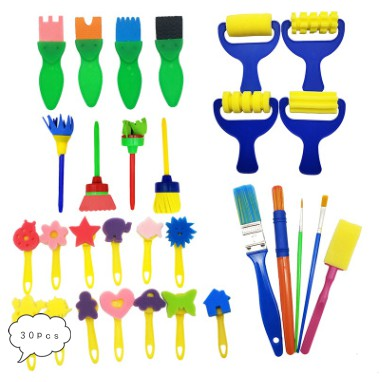 4Pcs,Paint Sponges Fun Paint Brushes for KidsToddlers Children DIY Graffiti Drawing B