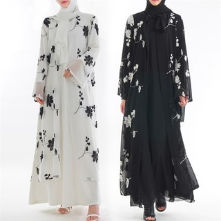 28717164be Muslim Women Printed Flower Maxi Dress Kimono Open Abaya Robe Kaftan Dubai
