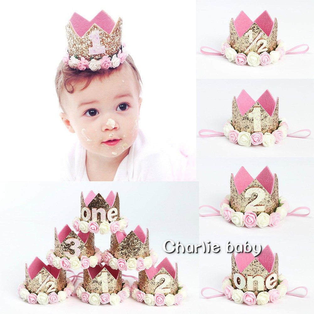 Children Princess 1 Years Old Baby Birthday Hat Flower Headwear Crown Hair Band Baby Accessories baby hair accessories