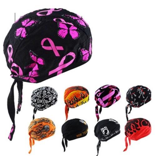 Mens Womens Cotton Biker Skull Cap Motorcycle Bandana Head Wrap Cool Headwear