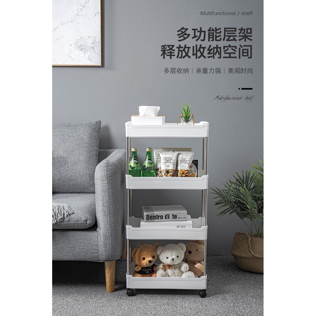 Ready Stock!!! Kitchen Home Living Room Toilet Bathroom Storage Basket Tray Rack Shelf Wheels Trolley