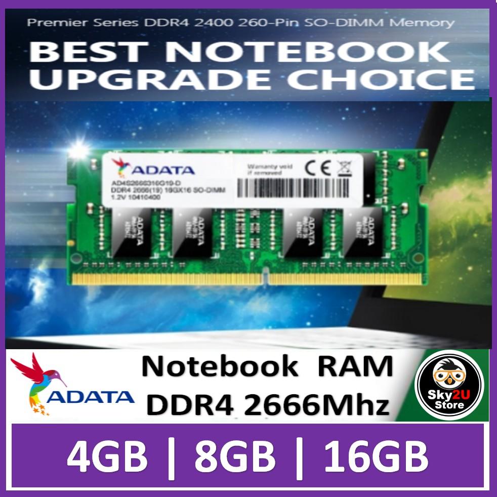 ADATA SODIMM DDR4 Ram 2666MHz Laptop (4GB/8GB/16GB)