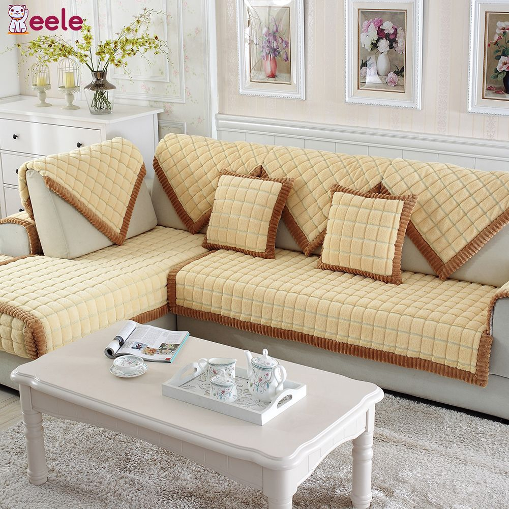 Fantastic Eele Beige Plaid Plush Long Fur Sofa Sectional Furniture Protector Couch Covers Caraccident5 Cool Chair Designs And Ideas Caraccident5Info