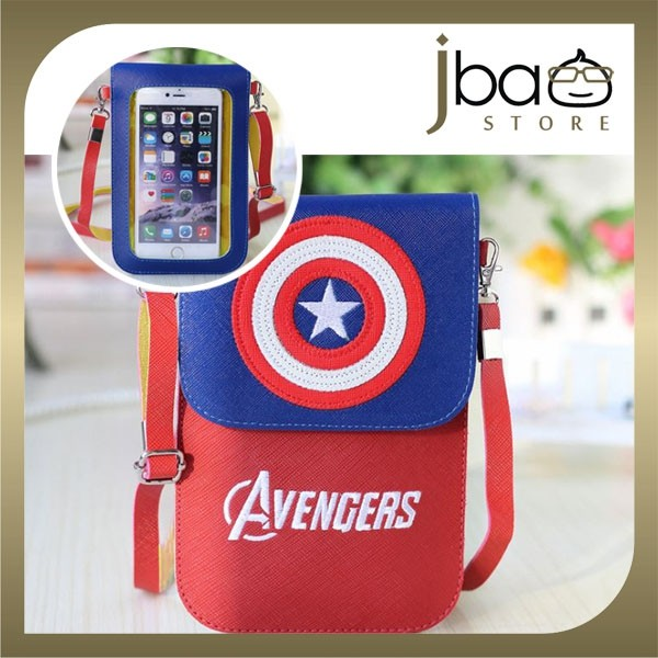 Avengers Captain America Spider-man PU Sling Bag Touch Screen Smartphone Pouch