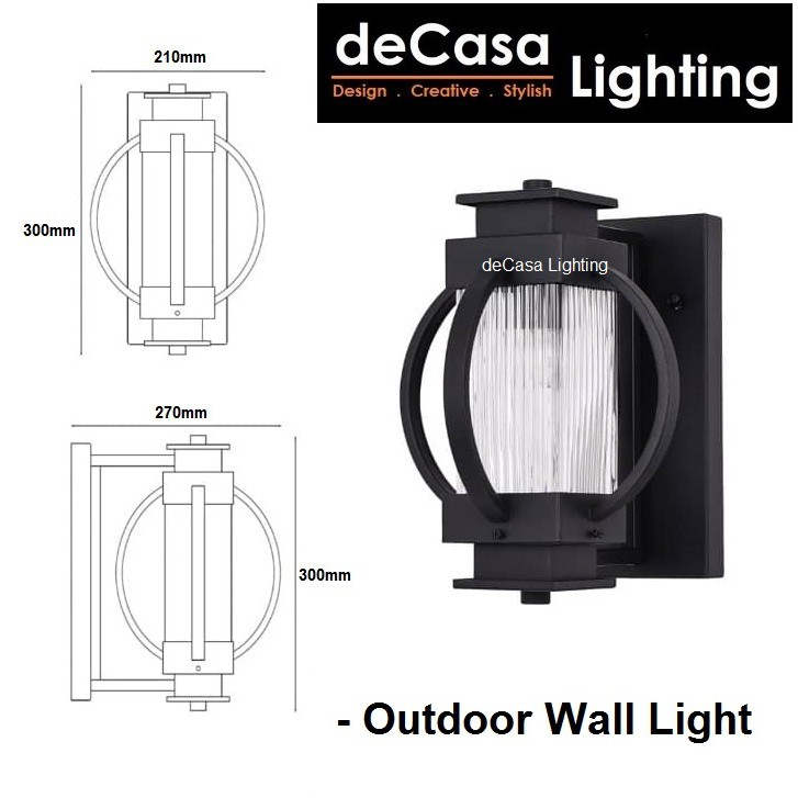 DECASA LIGHTING Set With 12w Led Bulb New Design Outdoor Wall Light E27 Glass Outdoor Wall Lamp Waterproof (2736S-BK)