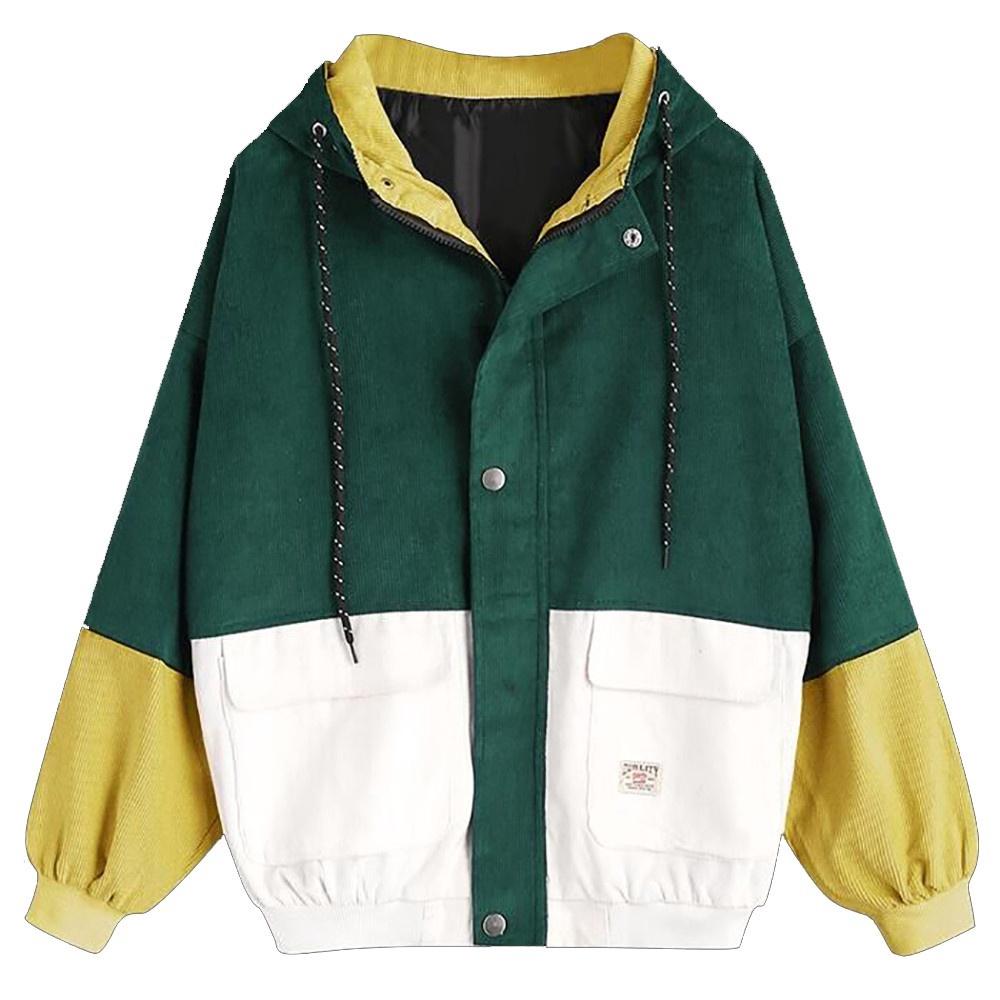 Women Long Sleeve Corduroy Patchwork Oversize Jacket