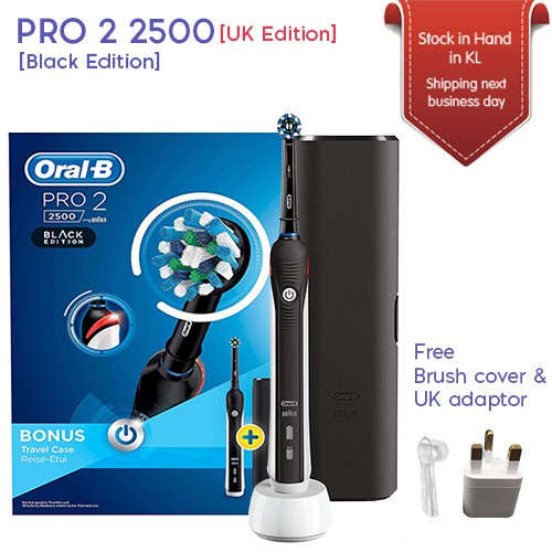 Oral B Pro 2 2500 Crossaction Electric Toothbrush Rechargeable Uk Black Edition Shopee Malaysia