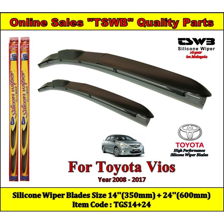 Toyota Vios (Year 2008 - 2017) New Design Silicone Wiper Blades (TGS14+24)