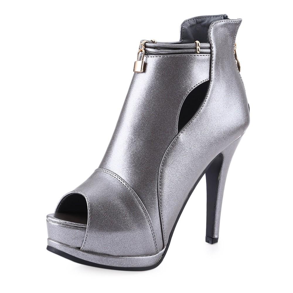 7c2fc8a0c0a34 Sexy Golden Band Design Magic Tape Thick High Heel Women Gladiator Sandals
