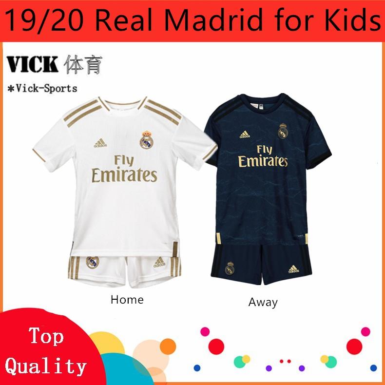 (FREE SOCKS) 1920 A Set jersey Children Real Madrid Home Away 3rd Football jersi Boys For Kids Children Kit