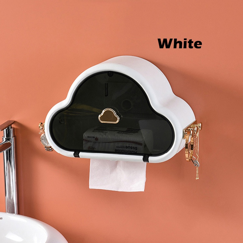 GDeal Tissue Box Storage Box Toilet Organizer Wall Mounted Box Punch Free Storage Shelf
