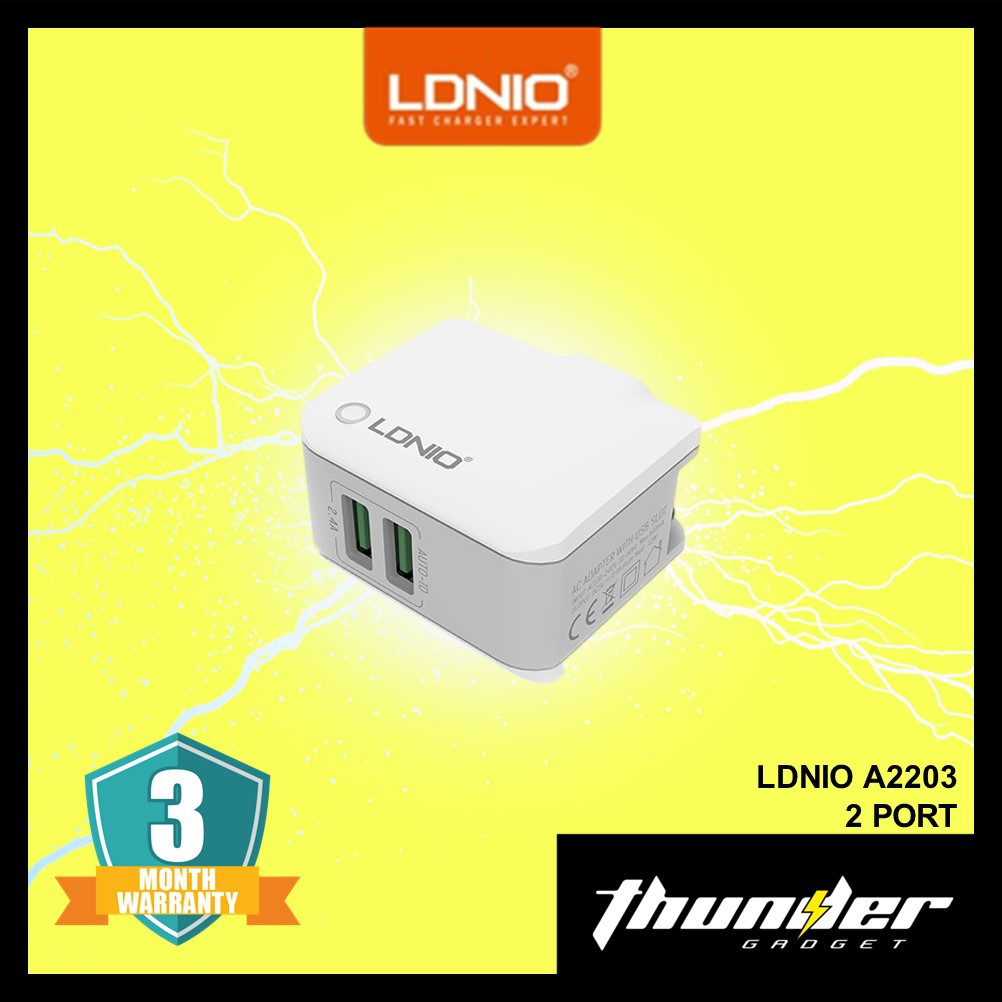 LDNIO A2203 2 PORT AUTO-ID TRAVEL CHARGER 3.4A WITH MIRCO USB CABLE