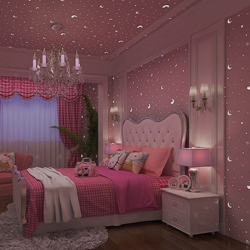Glow In The Dark Starry Sky Pink Wallpaper For Kids Bedrooms Decoration Shopee Malaysia