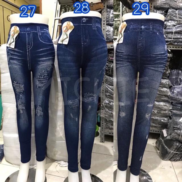 Favorite Legging Jeans Denim Import Cheap Legging Sobek Legging Motive Legging Women Pants Shopee Malaysia