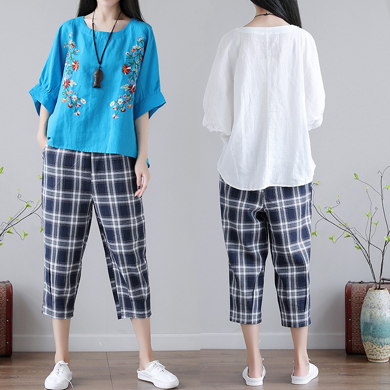 Plus Size Women'S Clothing Loose Embroidered Shirt Plaid Pants Suit