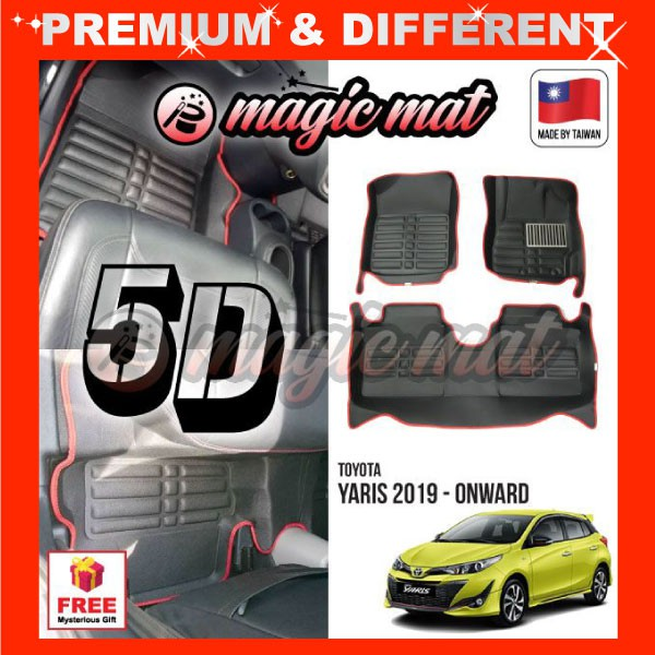 [FREE GIFT Gift] TOYOTA YARIS 2019 - Onward (5 Seater) MAGIC MAT 5D OEM PU Leather Floor Mat Anti-Slip Easy Clean Carpet