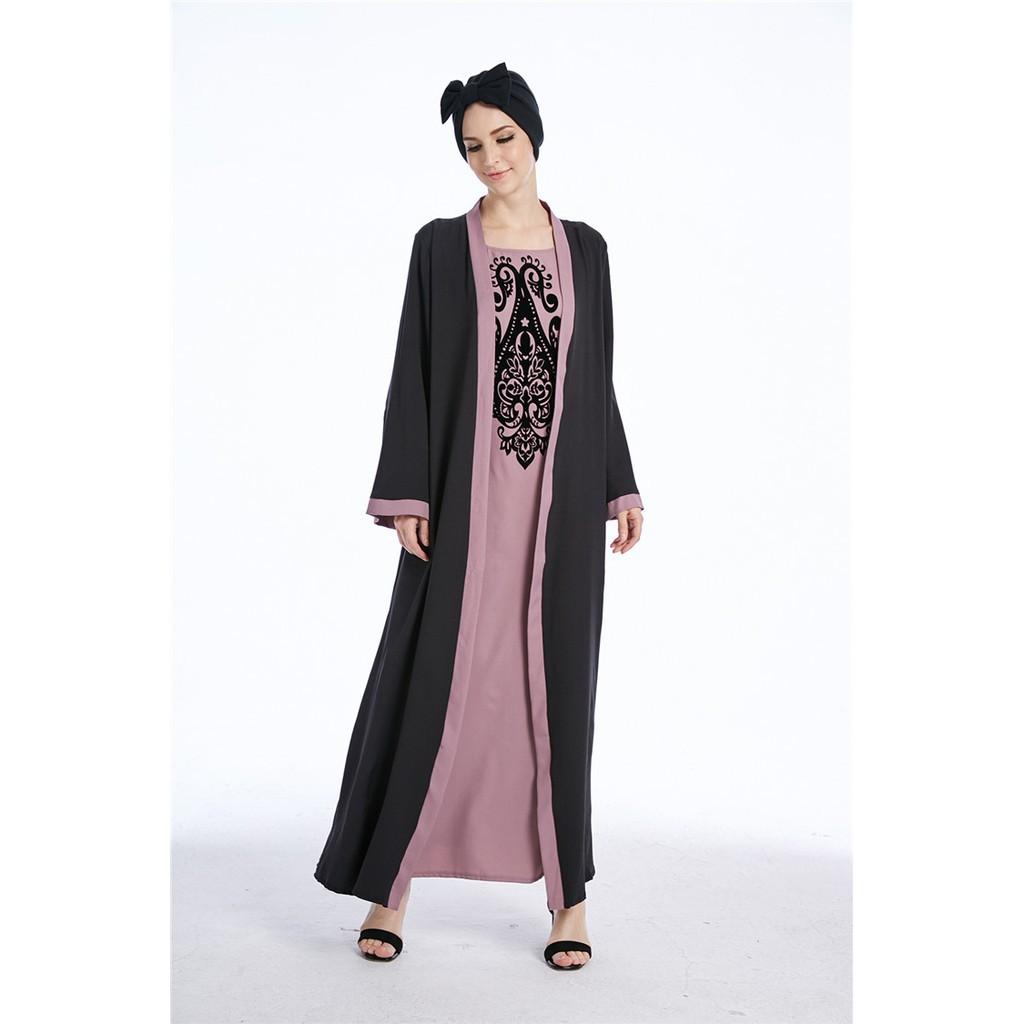 5e22cf55f27 Muslim Winter Abaya Maxi Dress Cardigan Print Long Robe Kimono Arab Thobe