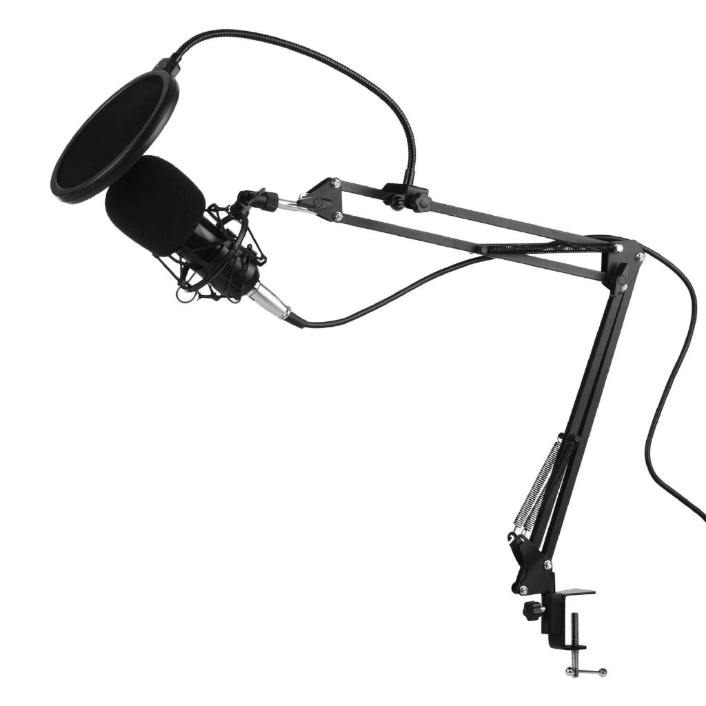 Professional Condenser Microphone Kit with Shock Proof Holder Adjustable Metal Arm Stand Foam Cap 48V Phantom Power Pop