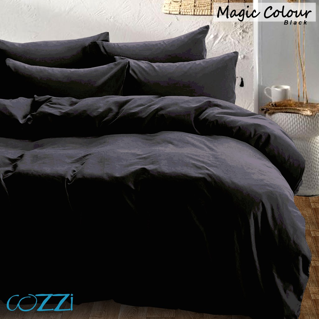 Cozzi Magic Black Comforter Fitted Bed Sheet Set Microfiber Plush King Queen Super Single Single Shopee Malaysia