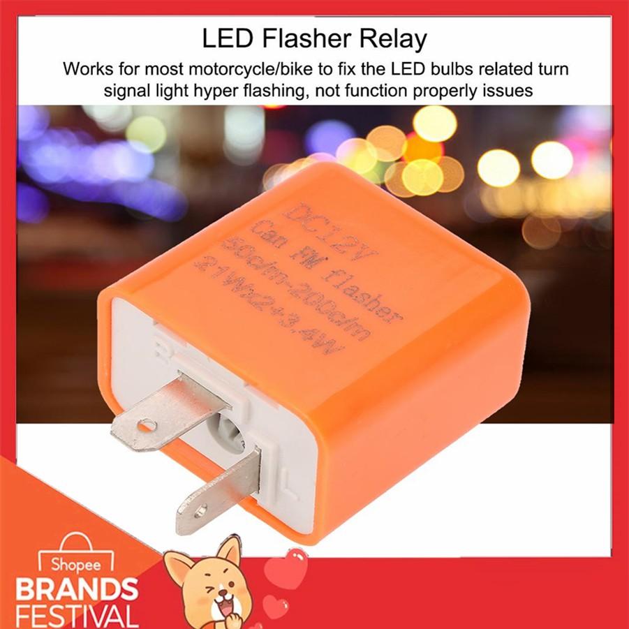 12V Motorcycle Motorbike Blinker LED Flasher Relay Control Orange 2 Pin