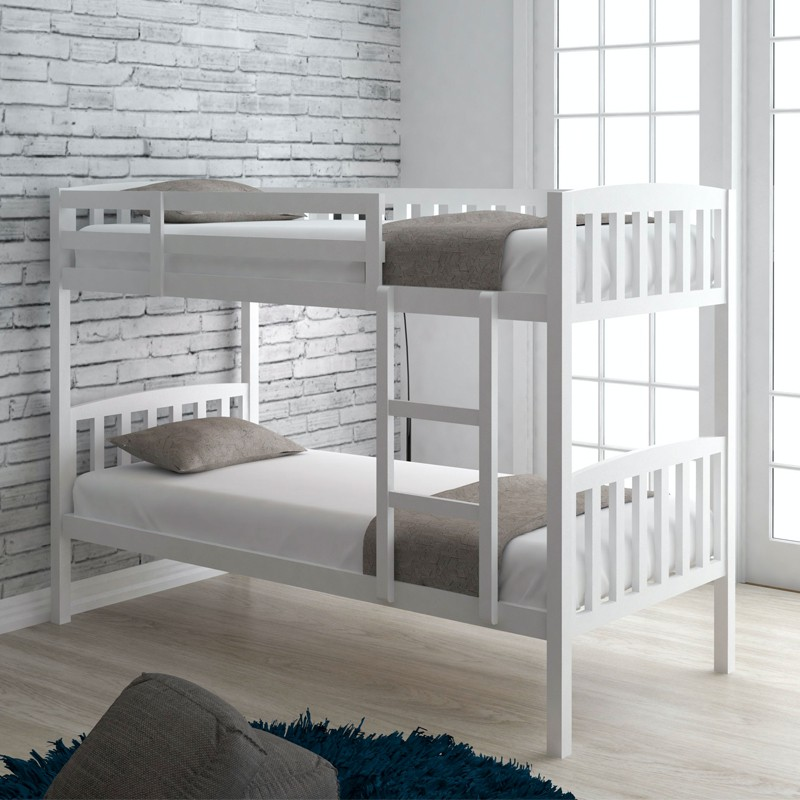 DEBORAH Solid Wood Double Decker Bunk Bed white color export quality twin bed can be 2 single bed  2 in 1 katil kayu