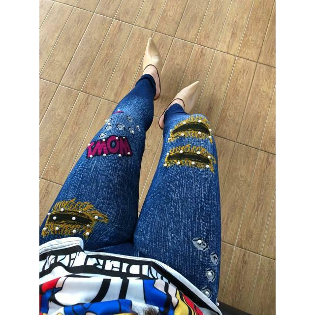 Ld05 57 Many Motif Legging Jeans Sobek Koyak Pearl Pearl Jumbo Legging Paku Shopee Malaysia