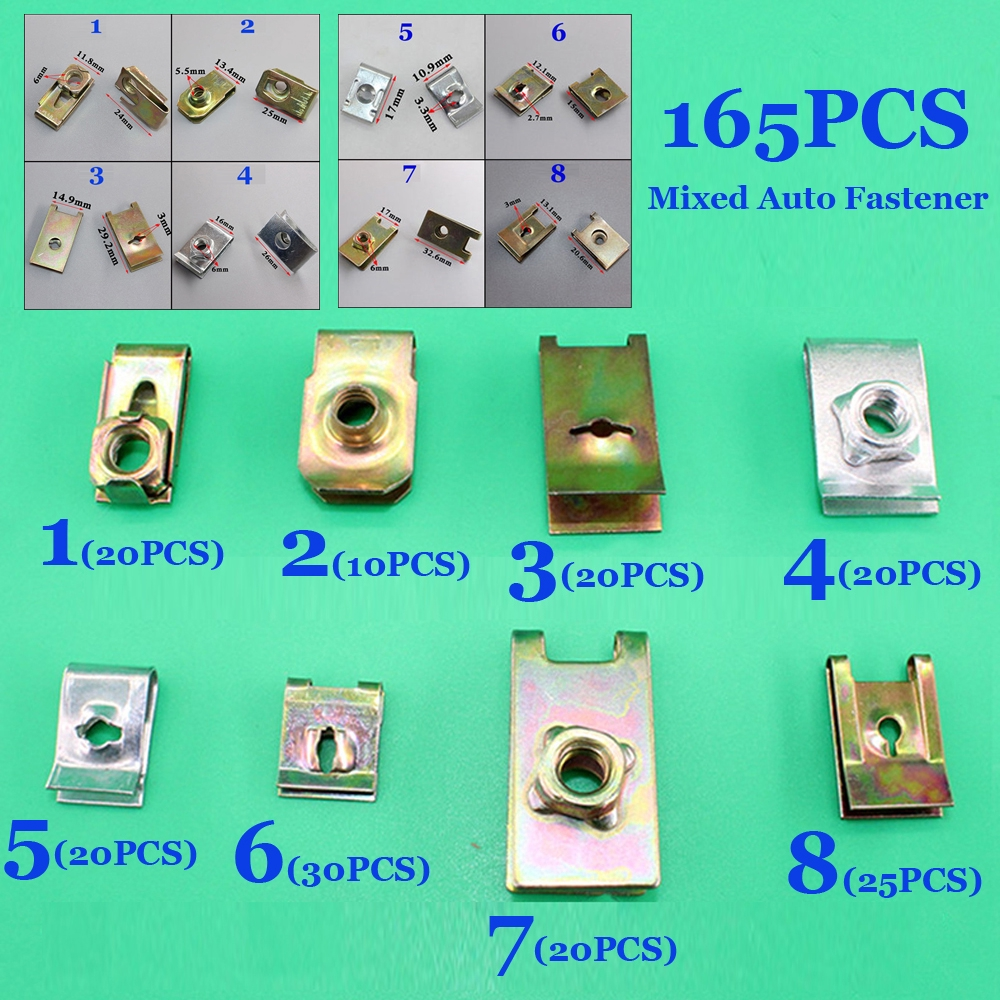 200Pcs//set Mixed Moulding Car Door Panel U Type Fixed Screw Fastener Clip Trim