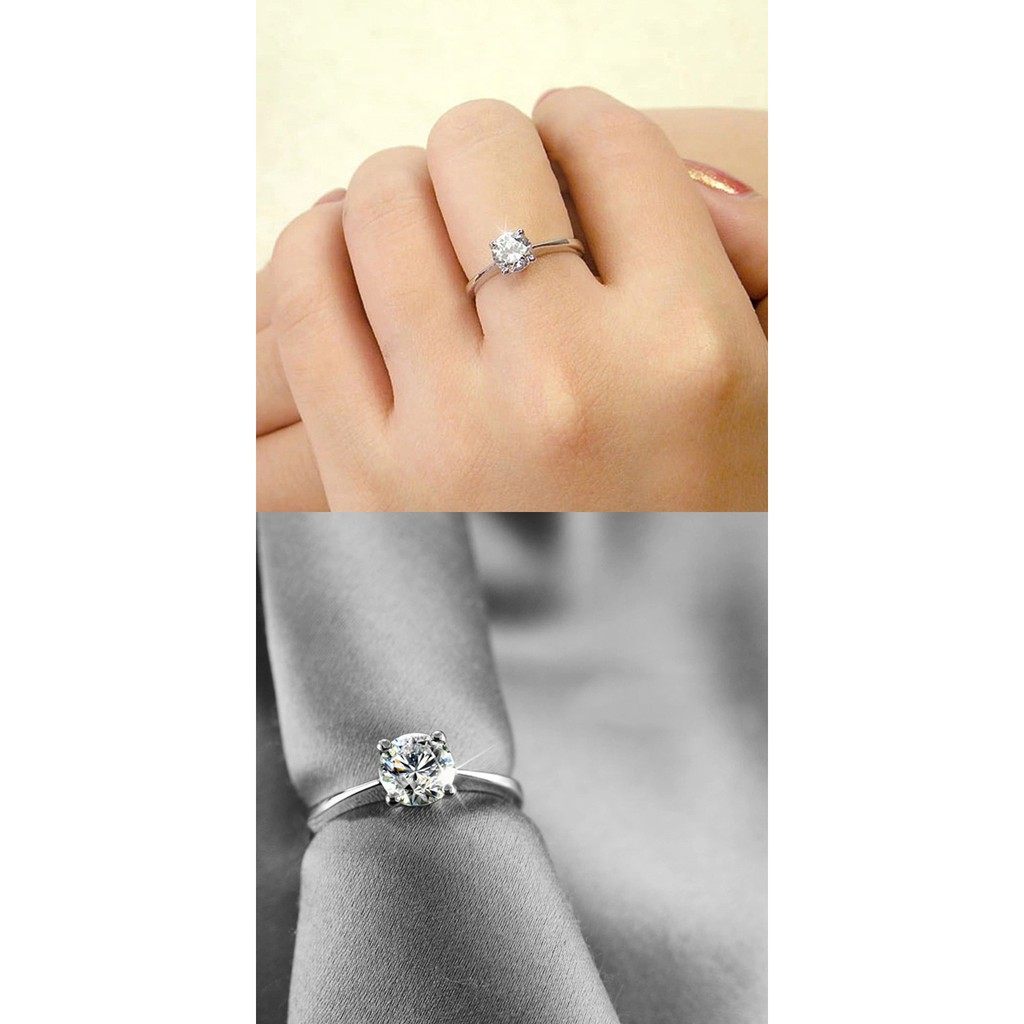 7bb35381f7 Fashion 925 silver plated Four Claw Zircon Opening Adjustable Couple Ring  Gift