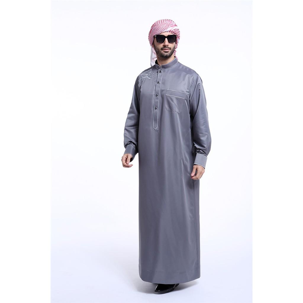 Ready Stock Fashion Gray Mens Thobe Arabic Man Dress Islamic Men