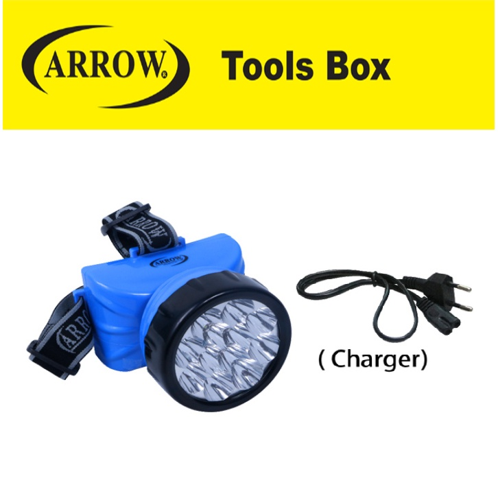 READY STOCK!! ARROW A20900 LED HEAD LIGHT WITH CHARGER EASY USE SAFETY MUDAH GOOD QUALITY