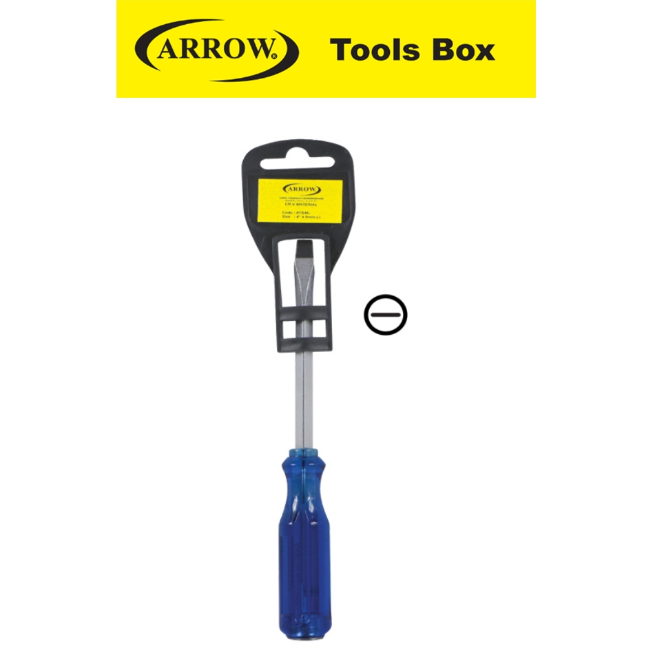ARROW SLOTTED HEAD ( - ) ATS46 ATS66 ATS88 ATS108 TANK THROUGH SCREWDRIVER CR V MATERIAL  EASY USE SAFETY GOOD QUALITY