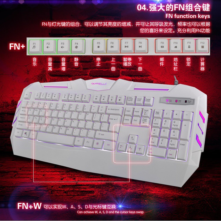 PUBG colorful backlight game keyboard