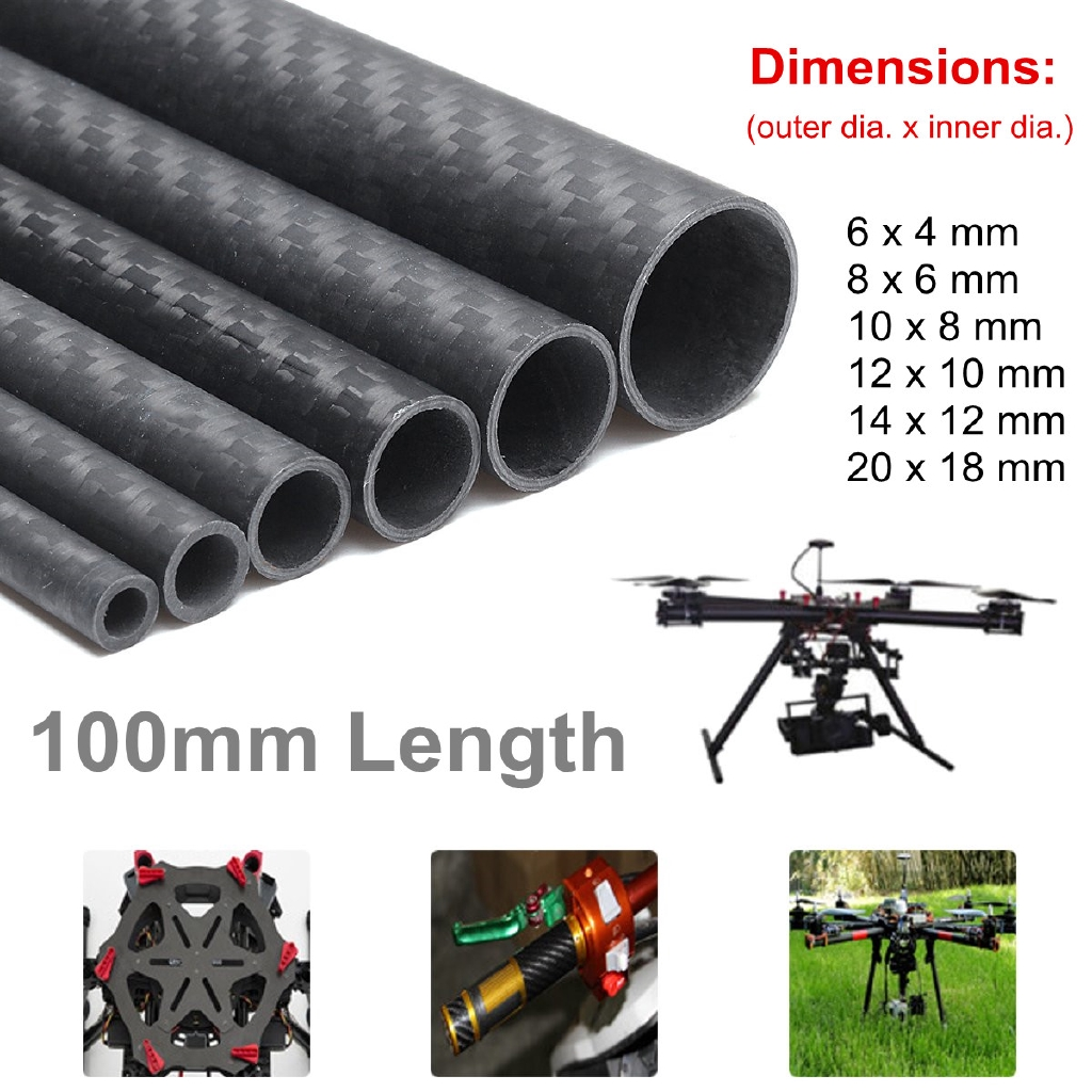 500mm Carbon Fiber Tube Pipe 3K Matte RC Air Model Part Accessories 6-20mm Dia