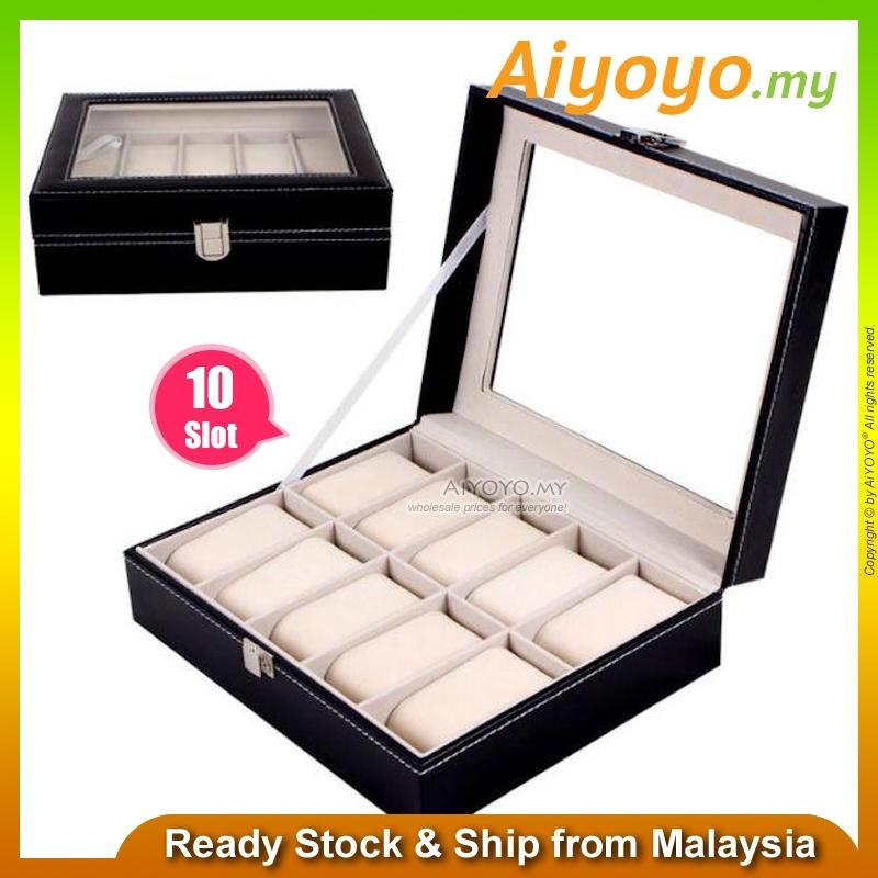 10 Slot PU Leather Watch Jewellery Storage Display Box Collection Case Organizer